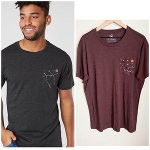 Tentree maroon star map pocket tee shirt sz XL